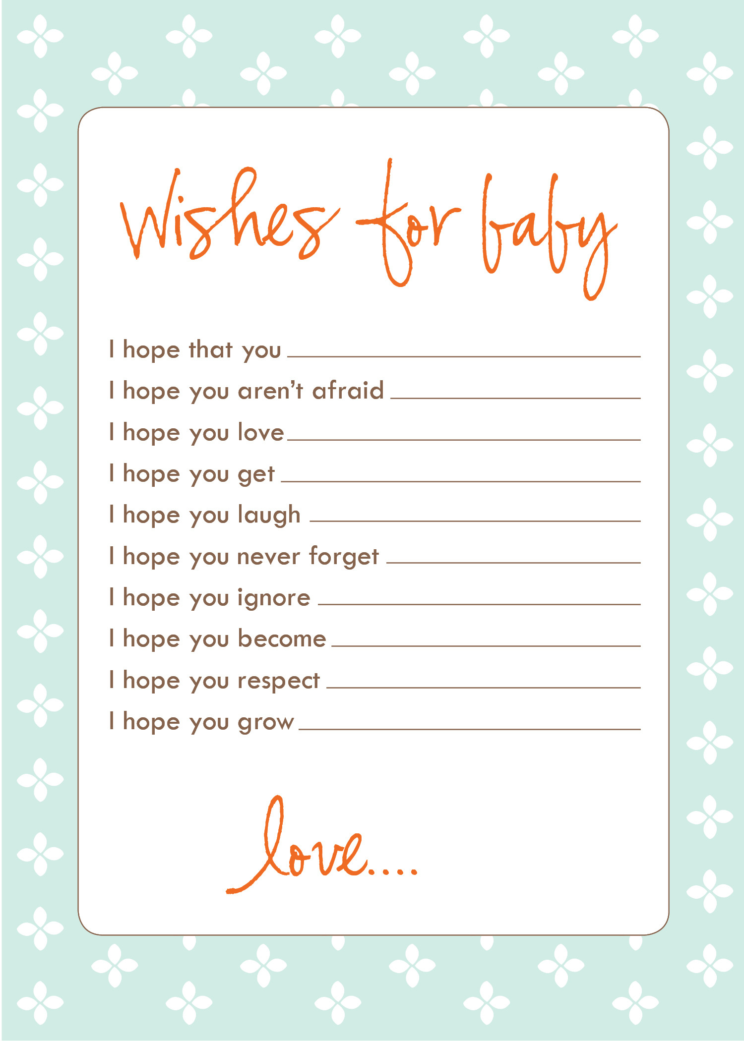 download your own free wish cards for showers or your own keepsake i
